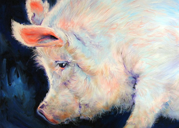 Pig Greeting Card featuring the painting MY PINK PIG For A Lucky Day By M Baldwin by Marcia Baldwin