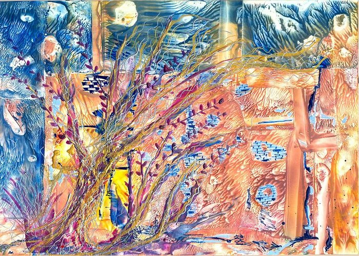 Abstract Encaustic Greeting Card featuring the painting My Place by Heather Hennick