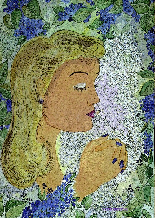 Lilac Prayer Greeting Card featuring the painting My Prayer by Irenemaria