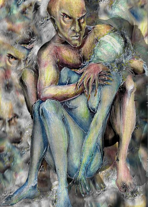 Demons Love Passion Control Posession Woman Lust Greeting Card featuring the mixed media My Precious by Veronica Jackson