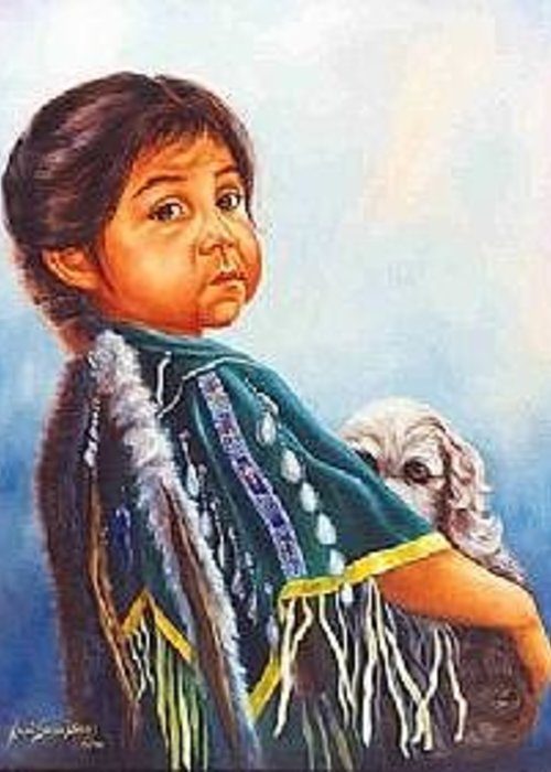Native American Greeting Card featuring the painting My Pup by Naomi Dixon
