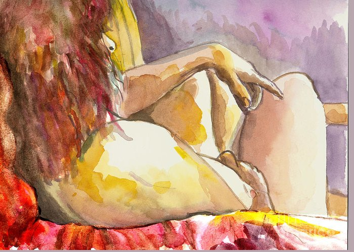 Figure Drawing Greeting Card featuring the painting My Right Shoulder by Tali Farchi