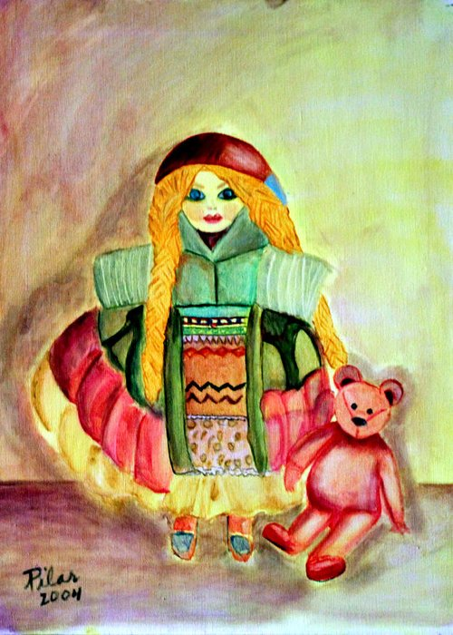 Greeting Card featuring the painting My Russian Doll by Pilar Martinez-Byrne