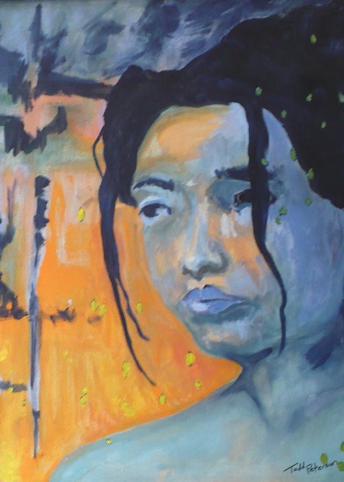 Woman Greeting Card featuring the painting My Soul Wanders A Far Away Land by Todd Peterson