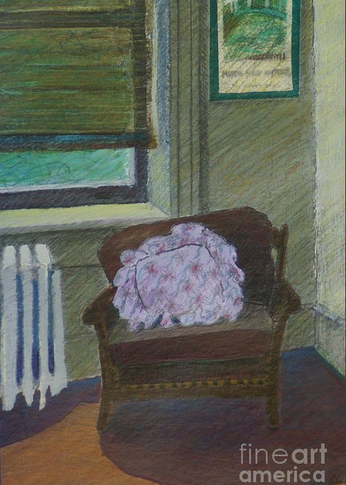 Chair Greeting Card featuring the painting My Student Apartment by Suzn Art Memorial