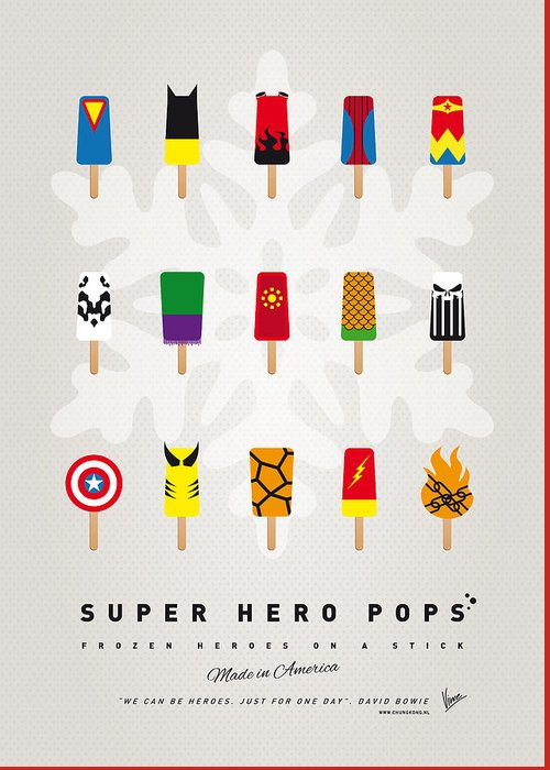 Superheroes Greeting Card featuring the digital art My SUPERHERO ICE POP - UNIVERS by Chungkong Art