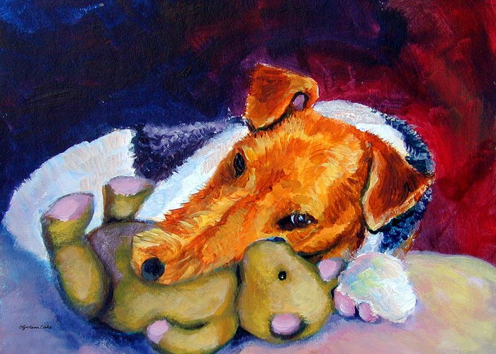 Wire Haired Fox Terrier Greeting Card featuring the painting My Teddy - Wire Hair Fox Terrier by Lyn Cook