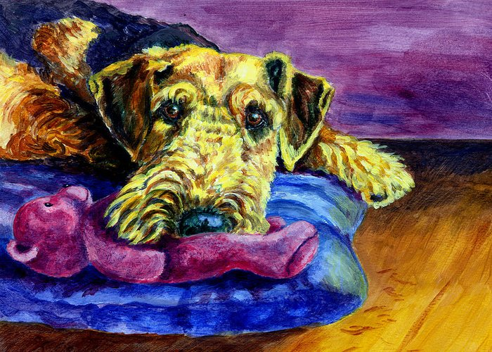 Airedale Terrier Greeting Card featuring the painting My Teddy Airedale Terrier by Lyn Cook