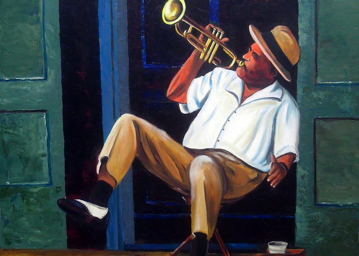 Cuba Art Greeting Card featuring the painting My Trumpet by Jose Manuel Abraham