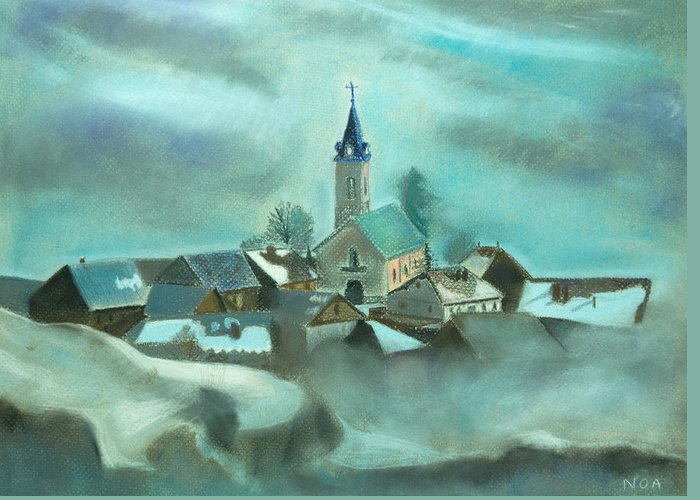 Village Greeting Card featuring the pastel My Village by Aymeric NOA