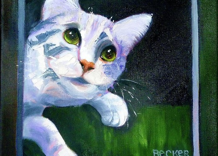 Feline Greeting Card featuring the painting Till There Was You by Susan A Becker