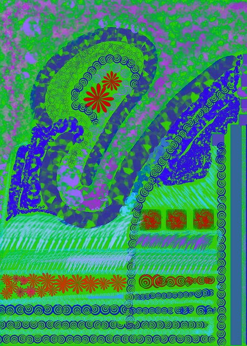 Abstract Colors Fabricdesign Blues Greens Greeting Card featuring the digital art My Yard 3 by Suzanne Udell Levinger