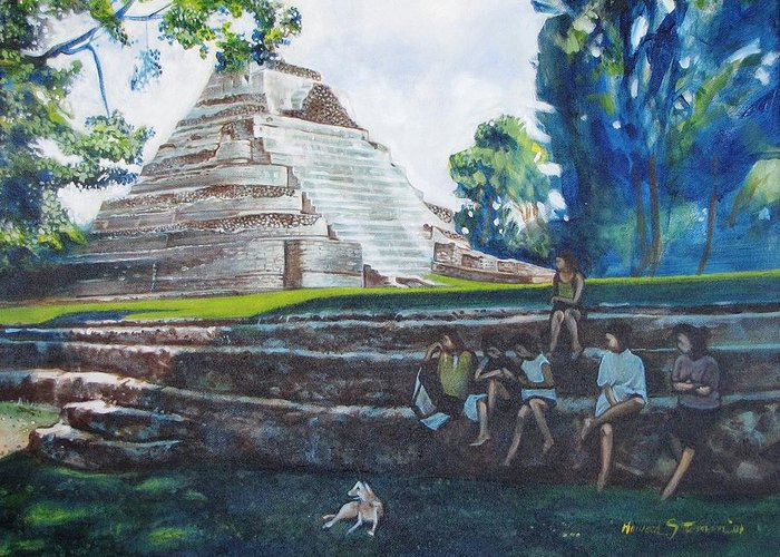 Sunny Afternoon In The Shade Greeting Card featuring the painting Myan Temple by Howard Stroman