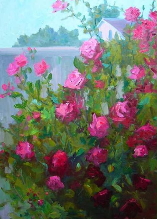 Climing Red Roses On Fence Greeting Card featuring the painting Myback Yard Roses by Patricia Kness