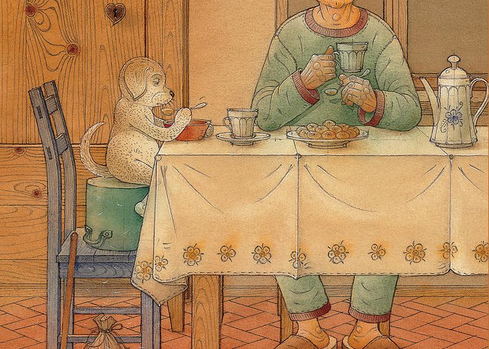 Animals Dog Figure Evening Tea Greeting Card featuring the painting Mysterious Guest by Kestutis Kasparavicius