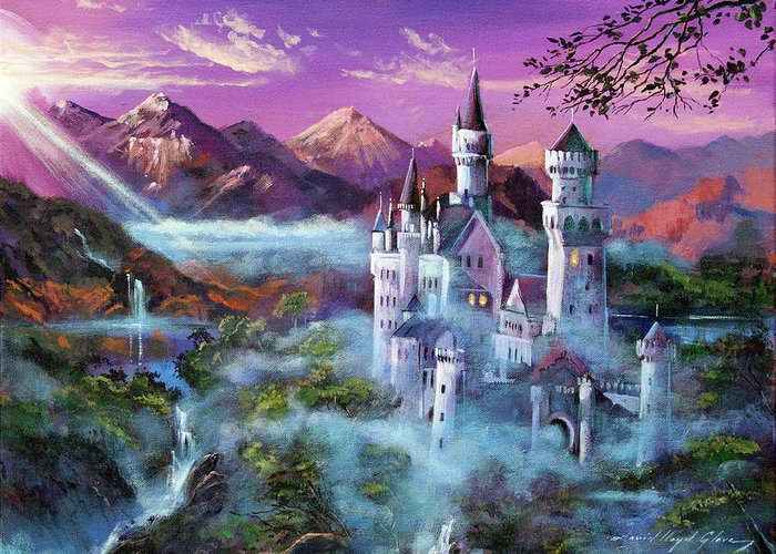 Fantasy Greeting Card featuring the painting Mystery Castle by David Lloyd Glover