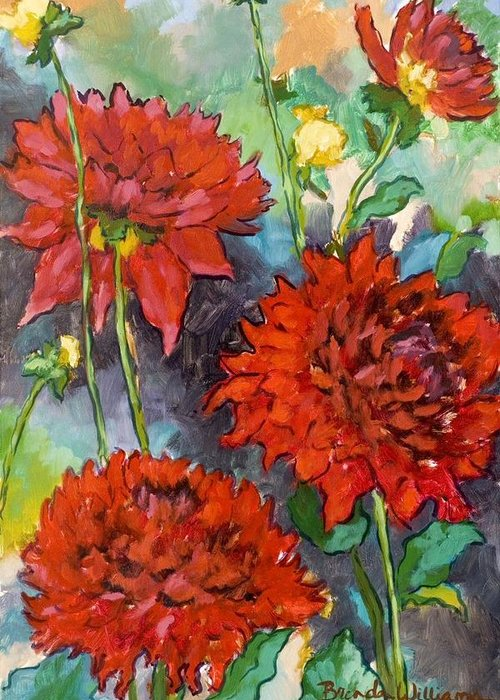 Dahlias Greeting Card featuring the painting Mystery Day Dahlias by Brenda Williams