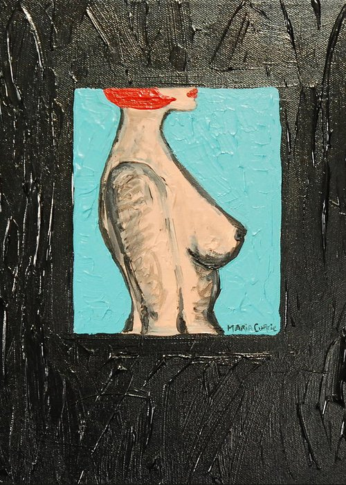 Abstract Female Nude Greeting Card featuring the painting Mystery Girl by Maria Curcic