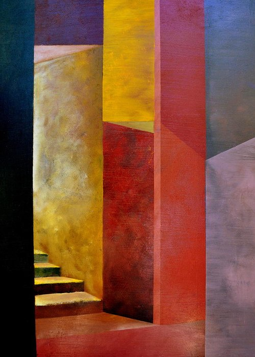 Gold Greeting Card featuring the painting Mystery Stairway by Michelle Calkins