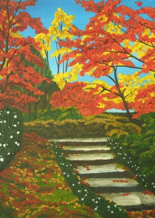 Fall Landscape Greeting Card featuring the painting Mystery Walk by Brandy House