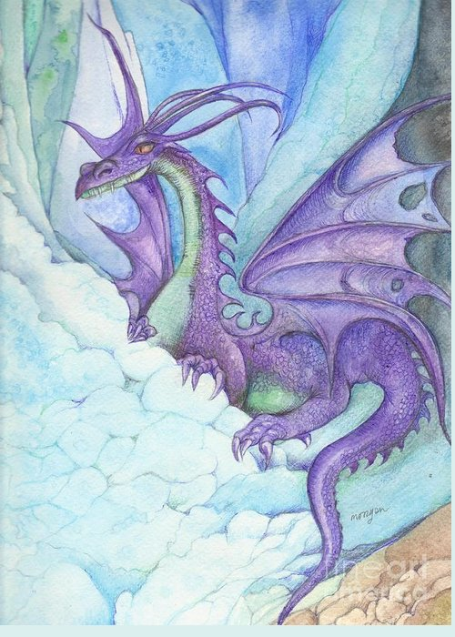 Mystic Greeting Card featuring the painting Mystic Ice Palace Dragon by Morgan Fitzsimons