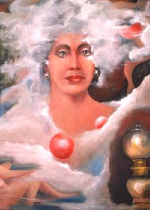Woman Artwork Greeting Card featuring the painting Mystic by Jordana Sands