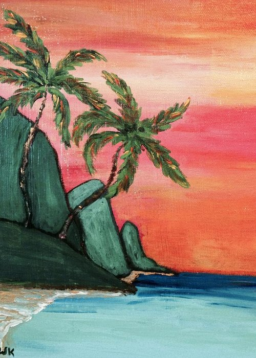 Beach Greeting Card featuring the painting Mystic Ke'e by Tanize Kotsol
