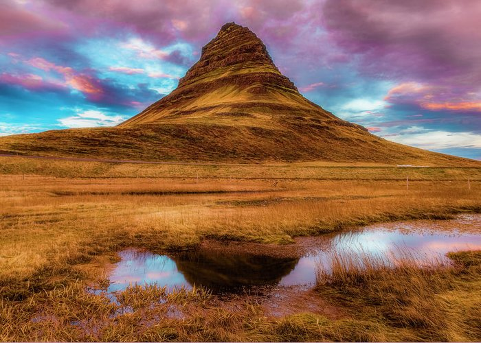 Sunset Greeting Card featuring the photograph Mystic Kirkjufell by Alex Walker