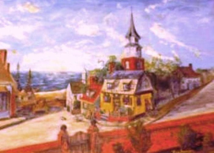 New England Seacoast Town Colonial Americana Greeting Card featuring the painting Mystic Seaport Colonial Era by Alfred P Verhoeven