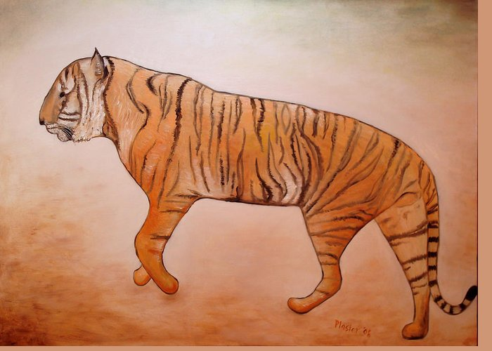 Animal Greeting Card featuring the painting Mystic Tiger by Scott Plaster