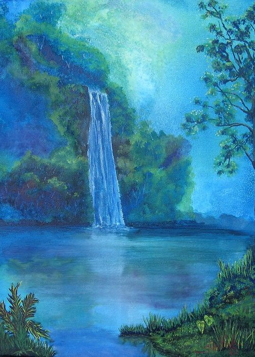 Landscape Greeting Card featuring the painting Mystic Waterfall by SheRok Williams