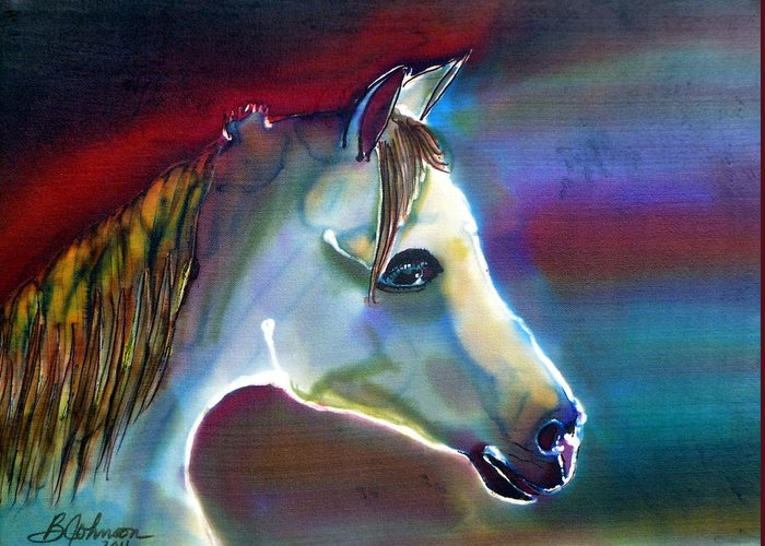 Horse Greeting Card featuring the painting Mystical by Beverly Johnson