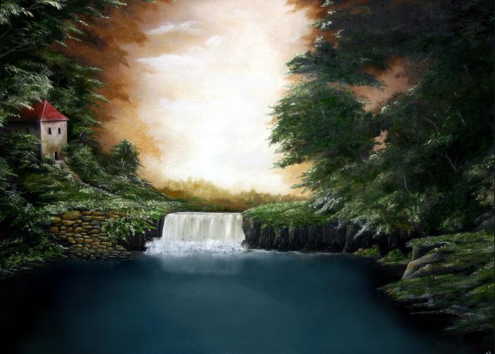 Falls Greeting Card featuring the painting Mystical Falls by Ruben Flanagan