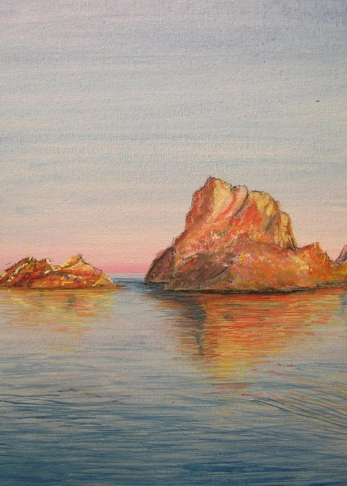 Island Greeting Card featuring the painting Mystical Island Es Vedra by Lizzy Forrester