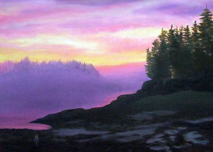 Sunset Greeting Card featuring the painting Mystical Sunset by Sharon E Allen