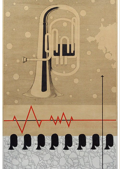 Music Greeting Card featuring the drawing Mystry Of Music 5 by Bharat Gothwal