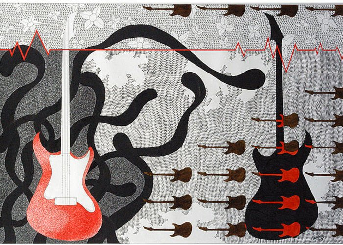 Music Greeting Card featuring the drawing Mystry Of Music 6 by Bharat Gothwal