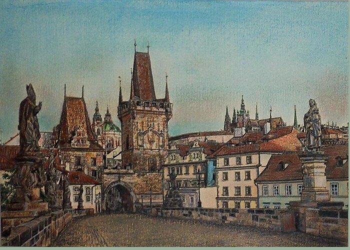 Praha Greeting Card featuring the drawing Na Karlovem Moste by Gordana Dokic Segedin