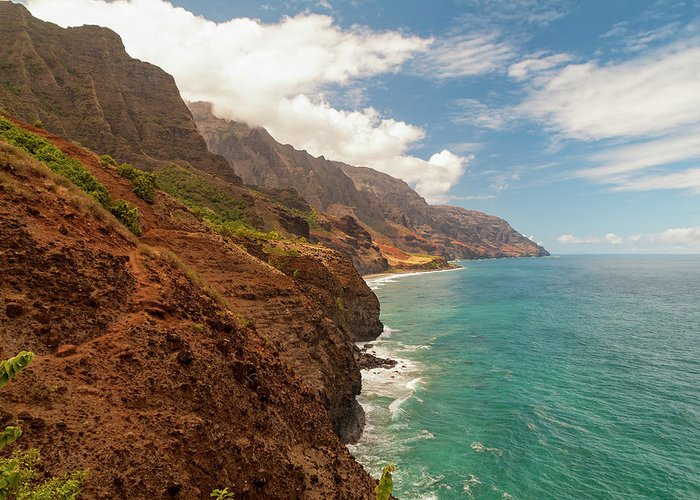 Na Pali Coast From Kalalau Trail Kauai Hawaii Valley Beach Greeting Card featuring the photograph Na Pali Coast 5 by Brian Harig