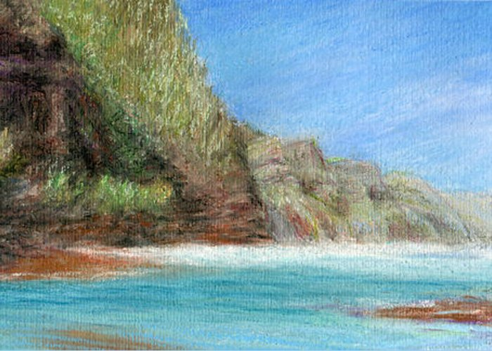Rainbow Colors Pastel Greeting Card featuring the painting Na Pali by Kenneth Grzesik