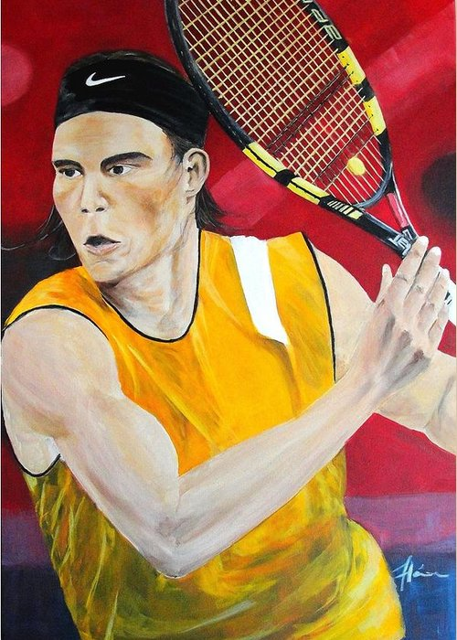 Rafael Greeting Card featuring the painting Nadal by Flavia Lundgren