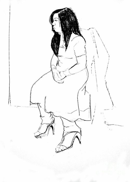 Female Model Greeting Card featuring the drawing Nadia by Joanne Claxton