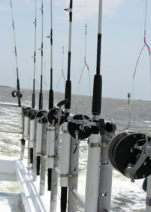 Nags Head Greeting Card featuring the photograph Nags Head Nc Fishing Poles by Brett Winn