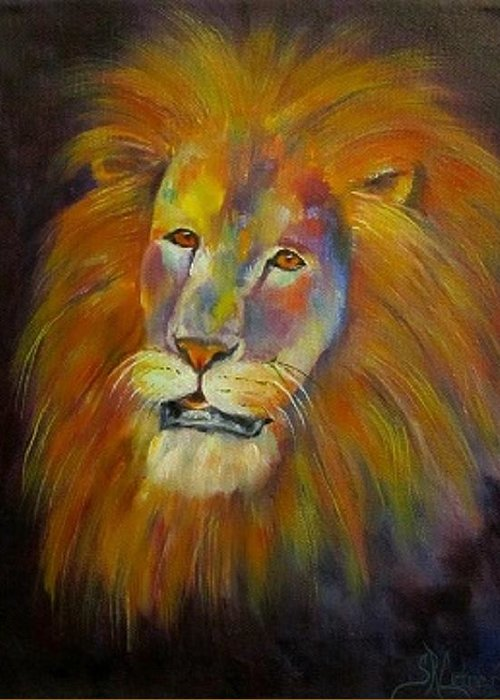Lion Greeting Card featuring the painting Naja, Lion by Sandra Reeves