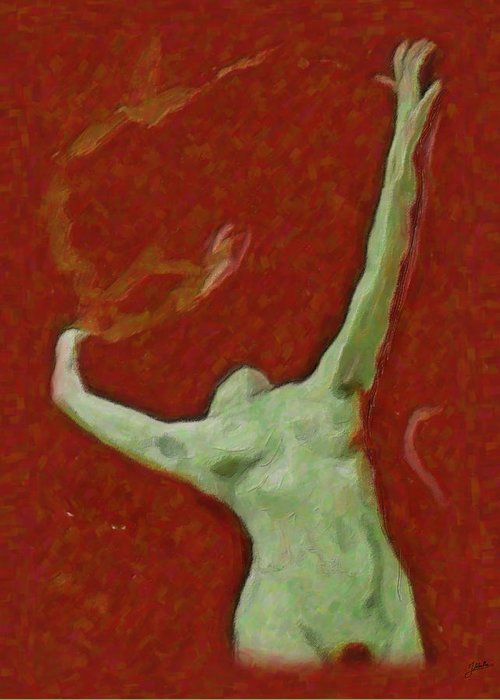 Abstract Greeting Card featuring the painting Naked Dance Of The Enchantress by Quim Abella