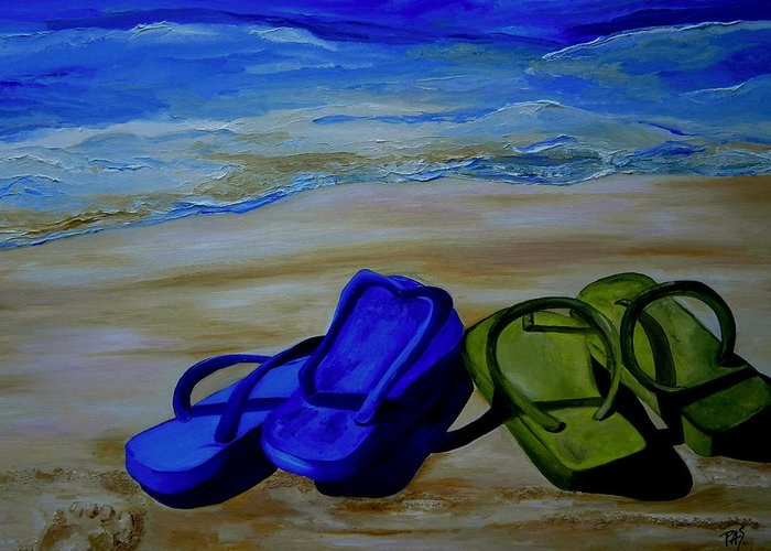 Flip Flops Greeting Card featuring the painting Naked Feet On The Beach by Patti Schermerhorn