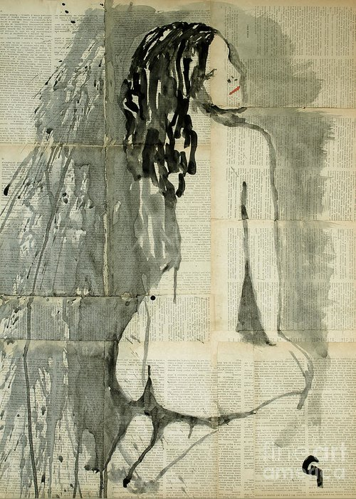 Woman Greeting Card featuring the painting Naked Figure. by Marat Cherny