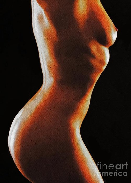 Nudist Greeting Card featuring the painting Naked Light And Dark by Mary Bassett