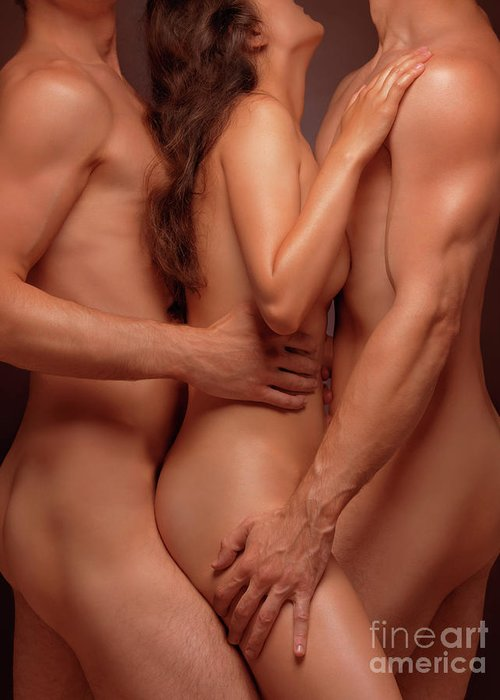 Sex Greeting Card Featuring The Photograph Naked Woman And Two Nude Men Sensual Threesome By Oleksiy
