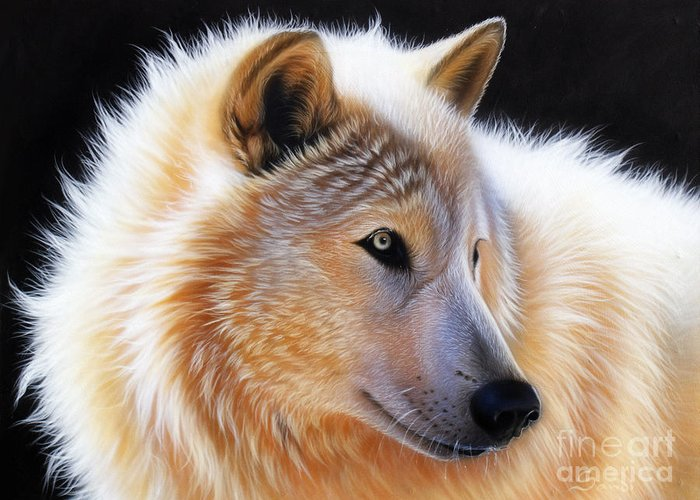 Acrylic Greeting Card featuring the painting Nala by Sandi Baker